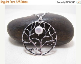 SALE Full Moon Rising Tree And Pearl Necklace, Tree Of Life