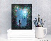 Limited Edition Canvas Print - First One - Hand Embellished - Just Before Midnight - Remarqued 8x10 - Home Decor - Fairy with Bird