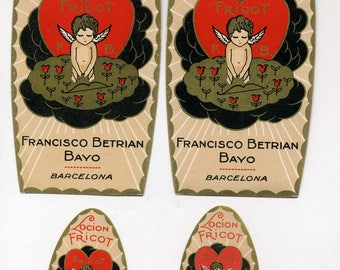 Set Of Four Vintage Cosmetic Labels - Cupid Sleeping