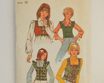 1970s Vintage Butterick Sewing Pattern 4397 Womens Vests, Cropped or Waist Length, Sleeveless, Cap or Ruffle Sleeves, Front Ties 10