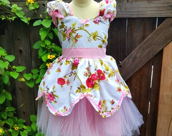 Romantic dress, Flower girl dress, Shabby chic dress, Pink dress, roses, party dress, Easter dress, Spring dress, tutu dress, girls dress