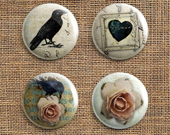 Set Of 4 Roses and Ravens Pinback Button Badges (RR)