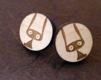 Suprised Bunny Wooden Earrings