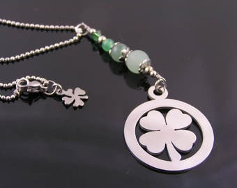 Good Luck Necklace, Four Leaf Clover Pendant, Green Aventurine Necklace, Luck Charm Necklace, Clover Necklace, Four Leaf Clover