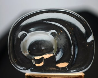 Iittala Glass Bear Paperweight Flatback Finland Jorma Vennola