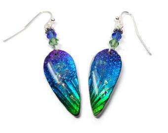 Blue Dangle Earrings- Resin earrings- Dichroic Earrings- Swarovski Crystal Polymer clay Earrings Gifts for Her
