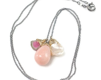 Peruvian Pink Opal necklace, Watermelon Tourmaline slice, Keshi Pearl charm necklace, Oxidised 925 silver chain, October Birthstone