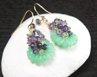 Chrysoprase earrings, Amethyst, Iolite, Prehnite, Pink Amethyst cluster dangle earrings, 14k gold filled hooks, Gift for Her