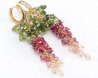 Green Apatite Multi colour Tourmaline cluster earrings CZ pave vermeil hoops, Luxe cascade Tourmaline earrings ... SEIRIOL Earrings