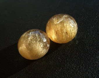 RESERVED - Large Golden Rutillated Quartz Onions - Pair - 15mm