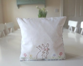 Sweet Rabbit Pillow with Bunny Pocket Hand Embroidered Tooth Fairy Pillow Vintage Handkerchief Case - EnglishPreserves
