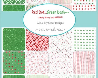 Red Dot Green Dash by Me and My Sister - Half Yard Bundle - Complete Set