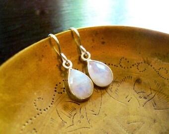 Tiny Moonstone Earrings in Silver - Tear Drop Rainbow Moonstone Gemstone and Silver Drop Earrings, Sterling Silver Moonstone Earrings