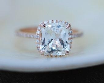 White Sapphire Ring 14k Rose Gold Diamond Engagement Ring  3.03ct Square Cushion Ice sapphire ring by Eidelprecious