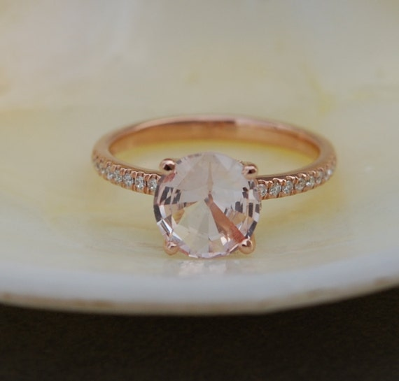 Peach Sapphire round ring. Rose Gold Diamond Ring, Rose Gold Engagement Ring, Diamond Engagement Ring