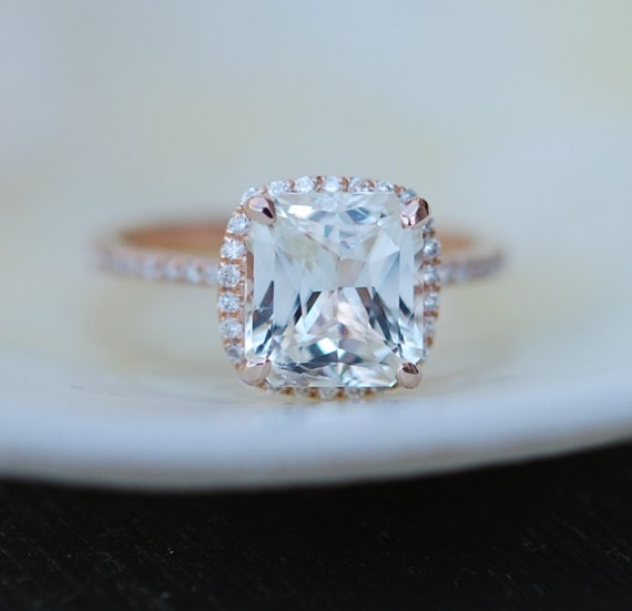 White Sapphire Ring 14k Rose Gold Diamond Engagement Ring  2.2ct Square Cushion Ice sapphire ring by Eidelprecious