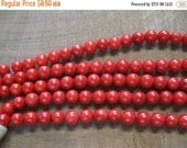 ON SALE Red Coral 8mm Round  Beads, about 24 Beads per Strand