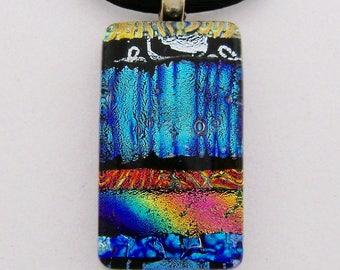 Dichroic glass pendant necklace.dichroic jewelry.