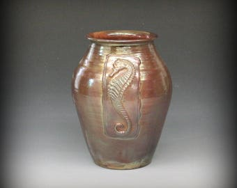 Raku Vase with Seahorse in Metallic Iridescent Colors