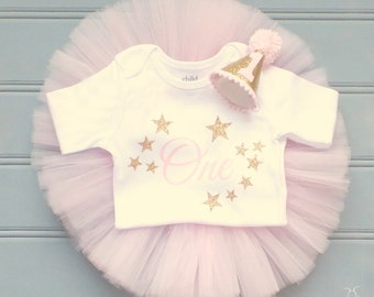 Twinkle Twinkle Little Star First Birthday Outfit Girl, Baby Tutu Dress, Baby Romper, Baby Headband Hat, Baby Girl 1st Birthday Outfit Girl