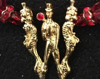 "ERTE Vintage Initial ""W"" in gold vermiel & gemstone  with Custom Necklace"