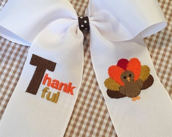 Embroidered Thankful Turkey Hair Bow Big Bow Ponytail Thanksgiving