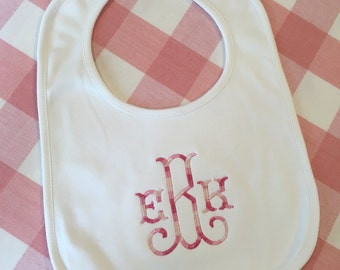 Monogrammed Cotton Baby Bib Personalized