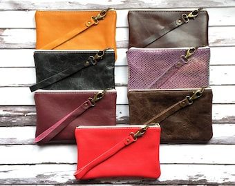 Leather Wristlet, zippered pouch, leather purse, small bag, colorful wristlet, makeup bag, red, mustard, burgundy, purple, brown, clutch