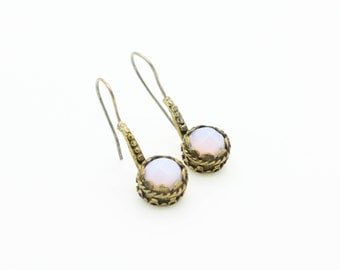 Antique Style Moonstone Silver and Brass Earrings