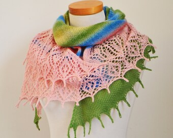 Lace knitted shawl, pink, green,  P516