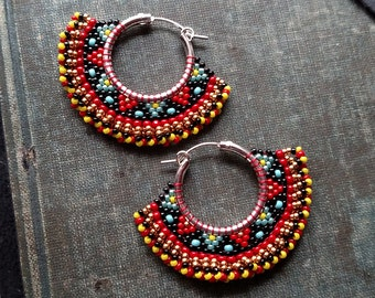 Tribal Hoop Earrings, Beaded Boho Hoops, Black, Red and Gold, southwest style, Christmas Colors