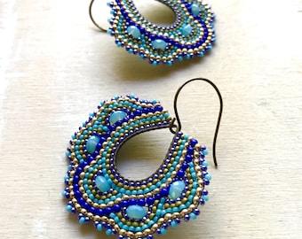 Gold and blue mosaic beaded teardrop earrings