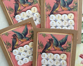 Buttons Note Card Set Blue Bird Quilting Sewing Seamstress Sew 4 Large Greeting Cards