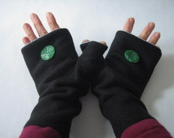 Fingerless Gloves / Handwarmers in soft fleece and lined in cotton knit, Adult size SMALL, Made in Maine