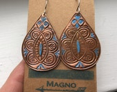 Handmade copper India paisley drop earrings turquoise enamel - pattern 2