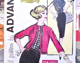 Vintage 1960s Womens Blouse Jacket and Skirt Pattern  -Advance 9480 - One Yard Separates