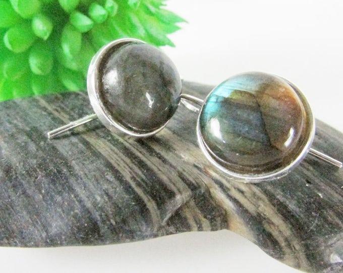 Labradorite Earrings, Labradorite Jewelry, Silver & Flash Labradorite Drop Earring, Simple Earrings