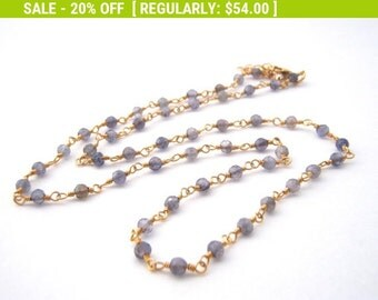 20% Off Sale Iolite Strand Necklace, Rosary Style, Denim Blue, Gold