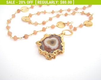 20% Off Sale Geode Stalactite Pendant On Sunstone, Rosary Style, Peach, Lavender, Gold, Burnt Orange, February Birthstone