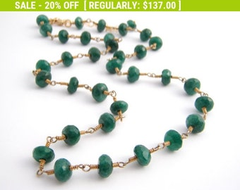 20% Off Sale Emerald Strand Necklace, Rosary Style, Wire Wrapped, Emerald Green, Gold, May Birthstone