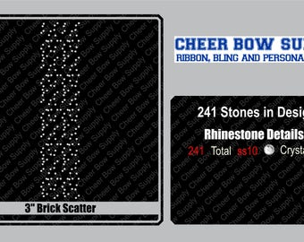 """3"""" Cheer Bow Brick Scatter Rhinestone Strip 3"""" X 13"""" INSTANT FILE DOWNLOAD"""