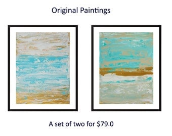 Original diptych painting abstract painting turquoise blue acrylic painting on paper wall art wall decor home office decor by qiqigallery