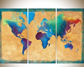 Vintage world Map painting set of 3 wall art hand paint green blue purple acrylic painting mixed art canvas art shabby chic -Made To Order