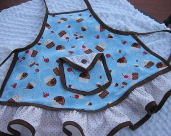 Childs apron in medium  Lots of cupcakes in blue