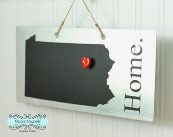 Pennsylvania State Silhouette Home Sign Magnet board with Chalkboard State and Red Heart Magnet