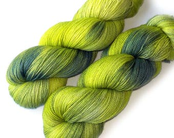 Hand Dyed Yarn Lace Yarn Merino and Silk - Pea Shoots, 870 yards
