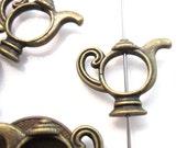 Beads, Metal Bead Frames, Antique Brass Tea Pot Bead Frames, 18x22 8mm ID BF1015