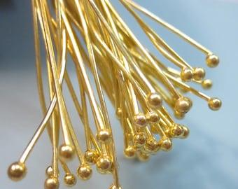50% Off Head Pins 50pcs Gold Plated Brass Ball End Head Pins 65mm 22ga 2.5inch Ball Pins HP1023 D17