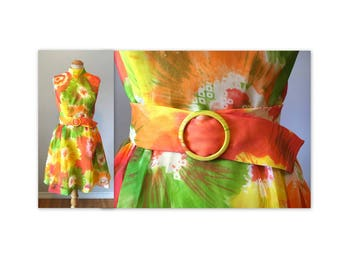 Vintage 60s Mini Dress in Silk Chiffon S M Spring Flowers NOS