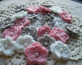 Crochet Double Layered Flowers set of 25 in a Pink Elephant Theme